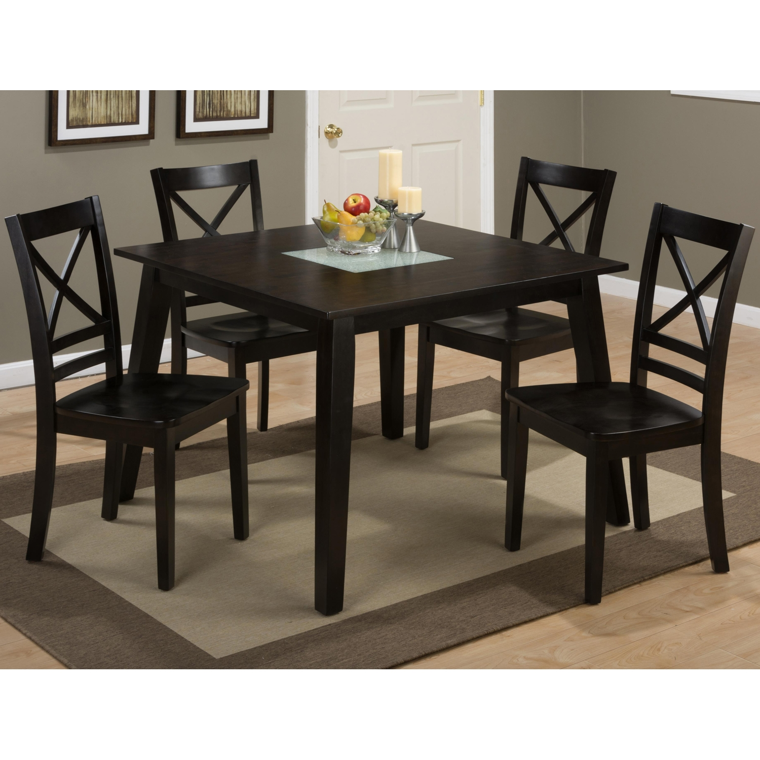 Roasted Java Square Dining Table - Crackled Glass Insert - JOFR-852-42
