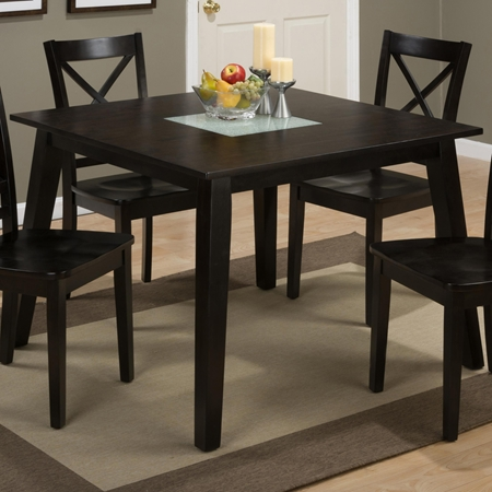 Roasted java square dining table crackled glass insert for Kitchen table with glass insert