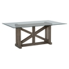 Hampton Sandblasted Trestle Dining Table - Glass Top - JOFR-872-78B78GKT