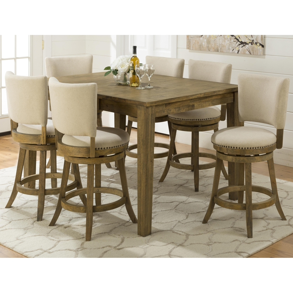 Turner 39 s landing 7 pieces dining set swivel stools for Rotating dining table