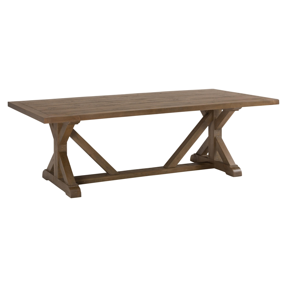 Slater mill reclaimed pine trestle dining table brown for Trestle dining table