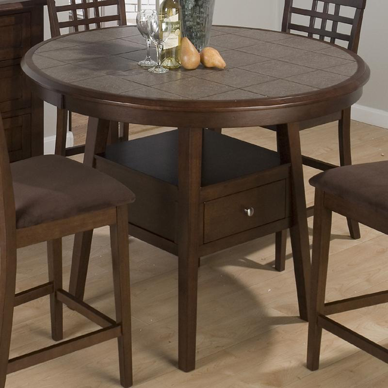 Caleb 5 Pieces Counter Height Dining Set - Brown - JOFR-976-48BT-BS515KD-SET