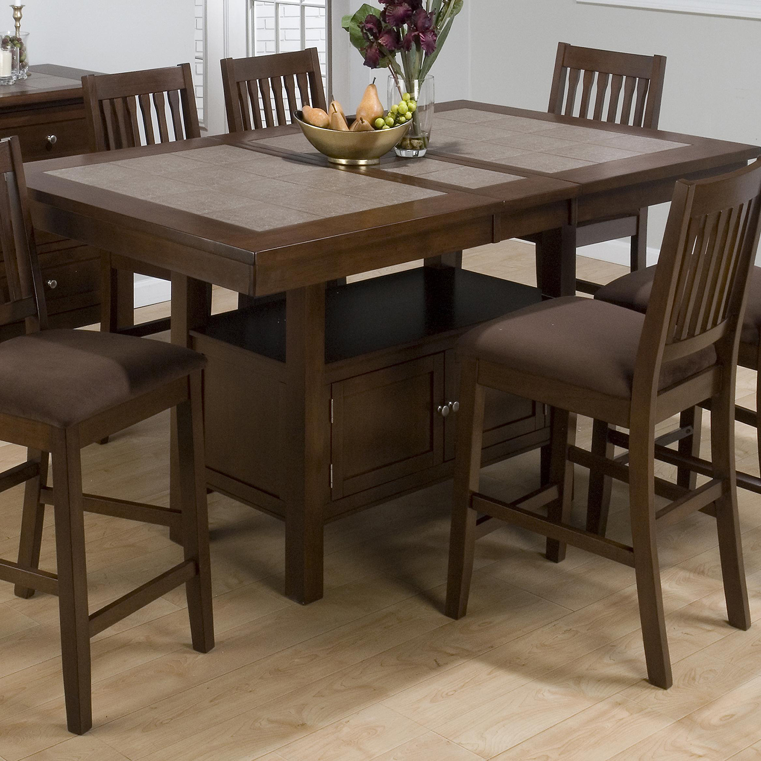 Caleb 7 Pieces Counter Dining Set - Butterfly Leaf, Brown - JOFR-976-72TBKT-BS671KD-SET
