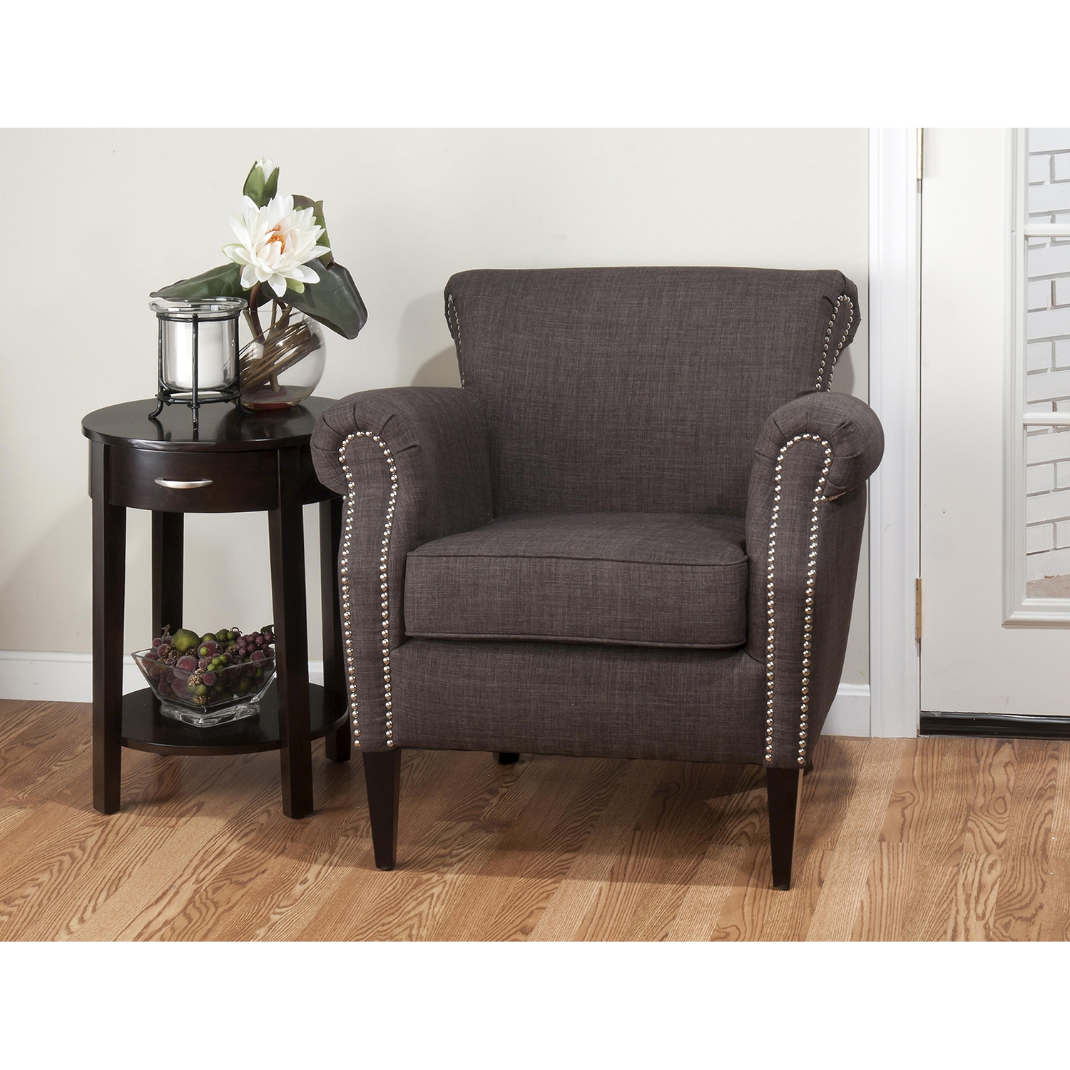 Emma Nailhead Club Chair - Charcoal - JOFR-EMMA-CH-CHARCOAL