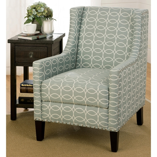 Josie Nailhead Accent Chair Light Blue and Gray