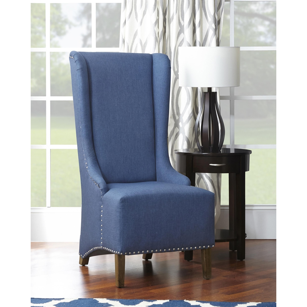 Naomi High Back Nailhead Accent Chair Blue Dcg Stores