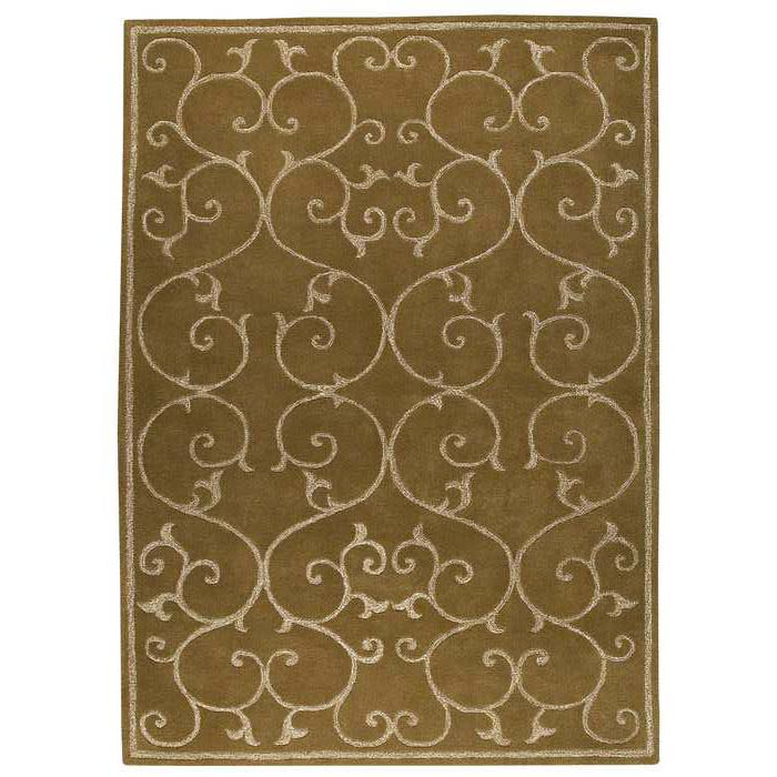 Capri Olive Green Hand Tufted Rug with Twisted New Zealand Wool
