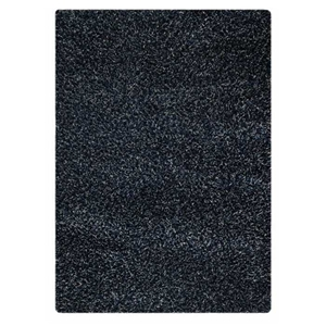 Evonne Hand Woven Polyester Shaggy Rug in Dark Blue