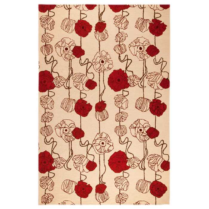 Frances Hand Tufted Floral Wool Rug in Sand and Red