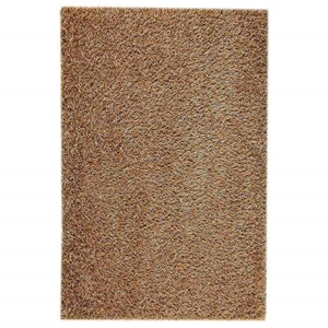 June Hand Woven Polyester Shaggy Rug in Beige