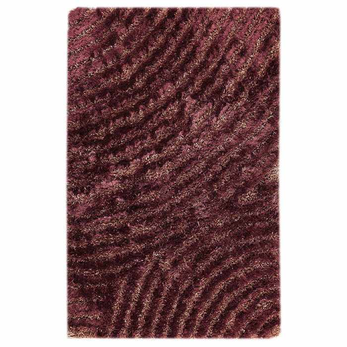 Missy Hand Woven Polyester Shaggy Rug in Purple