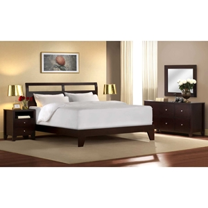 Dominique 5 Piece Wooden Bedroom Set - Cappuccino Finish
