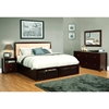 Gracie 4 Piece Bedroom Set - Upholstered Headboard, Cappuccino - LSS-GRA-4PC-BED
