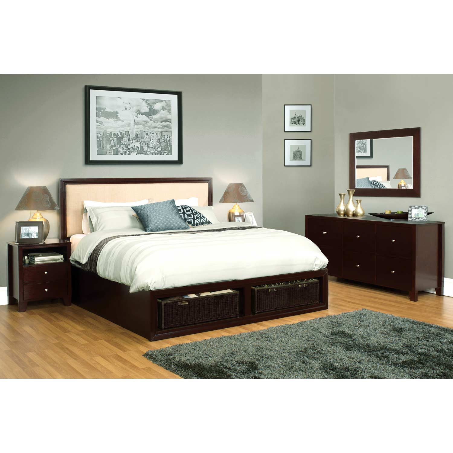 Gracie 5 Piece Bedroom Set - Upholstered Headboard, Cappuccino - LSS-GRA-5PC-BED