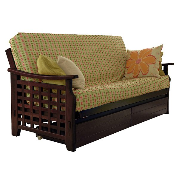 Manila Futon Frame in Dark Cherry with Storage Drawers