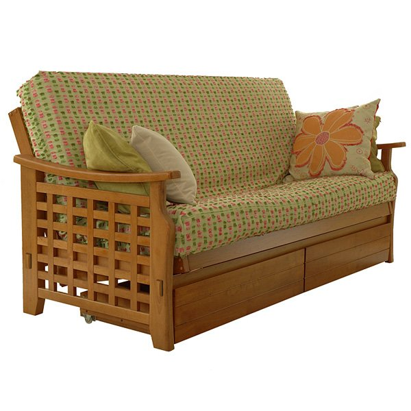 Medium Oak Manila Futon Frame with Drawers