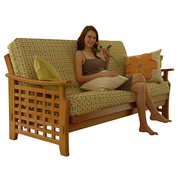 Relaxing on Manila Futon Set in Medium Oak