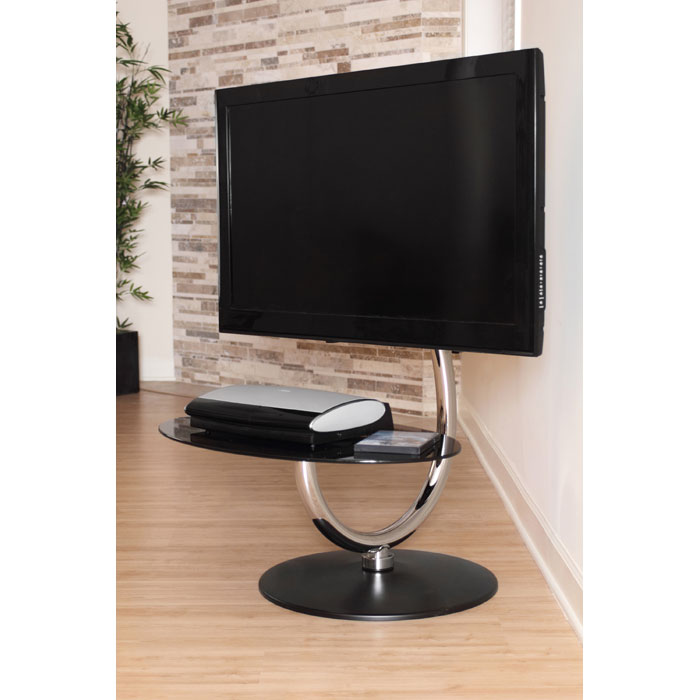 Black TV Stand with Swivel Mechanism - LMS-TV-CF-360C