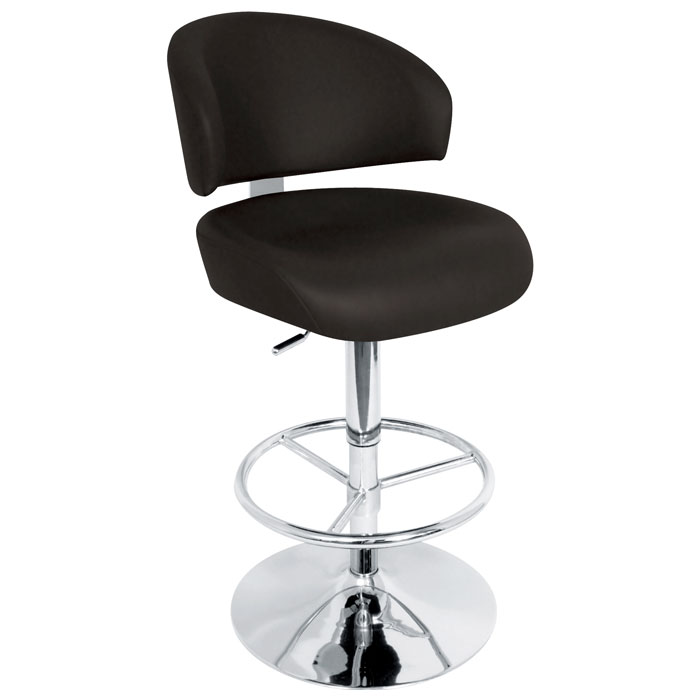 Regent Adjustable Swivel Bar Stool - Chrome, Padded Seat