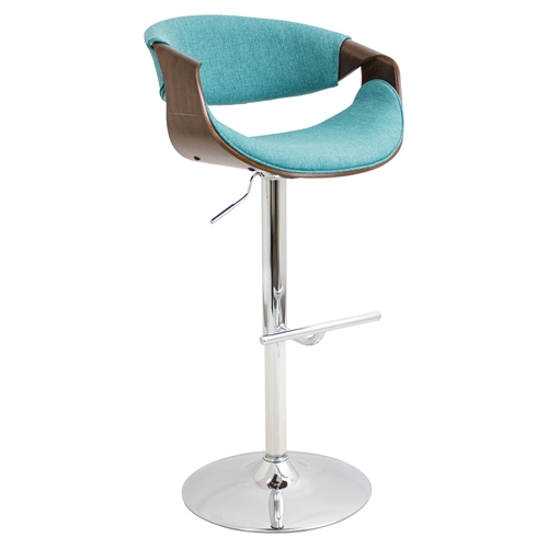 Curvo Height Adjustable Barstool Swivel Teal Dcg Stores