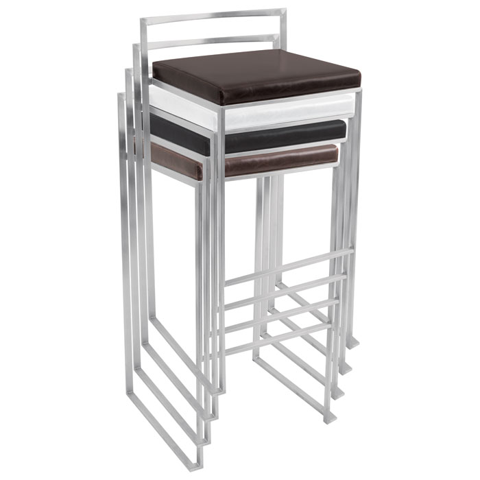 Fuji Stackable Bar Stool - White (Set of 2) - LMS-BS-FUJI-W2