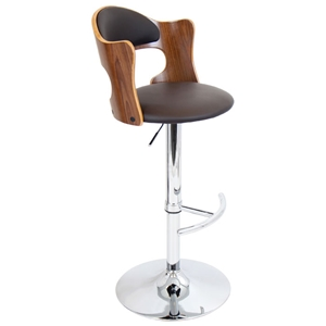 Cello Adjustable Height Bar Stool - Walnut & Brown
