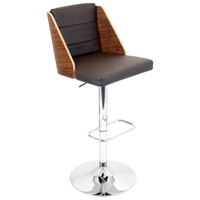 Galanti Bar Stool - Adjustable Height, Walnut Backrest