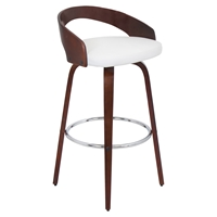 Grotto Swivel Barstool - White, Cherry
