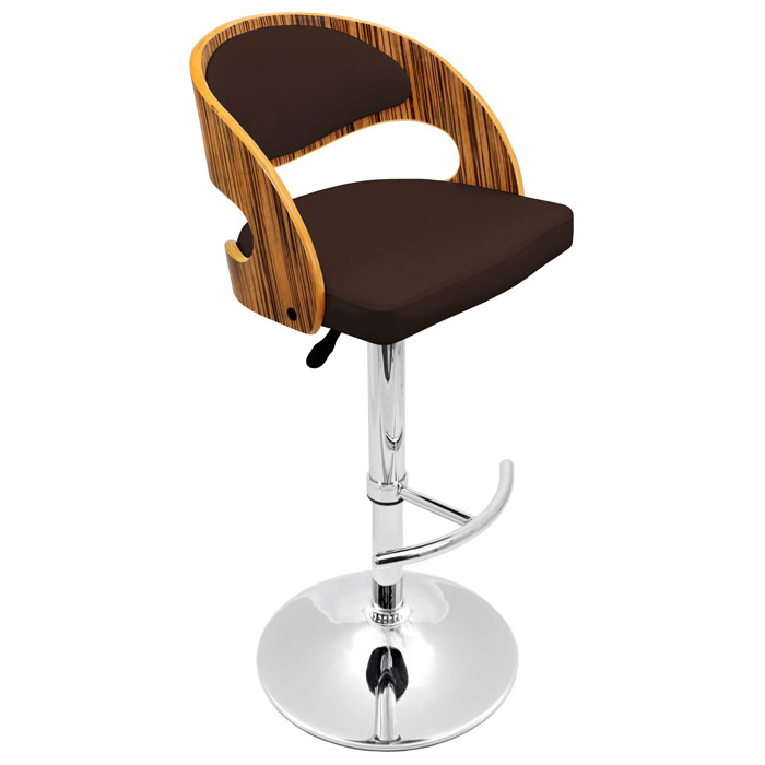 Pino Adjustable Swivel Bar Stool Wood Chrome