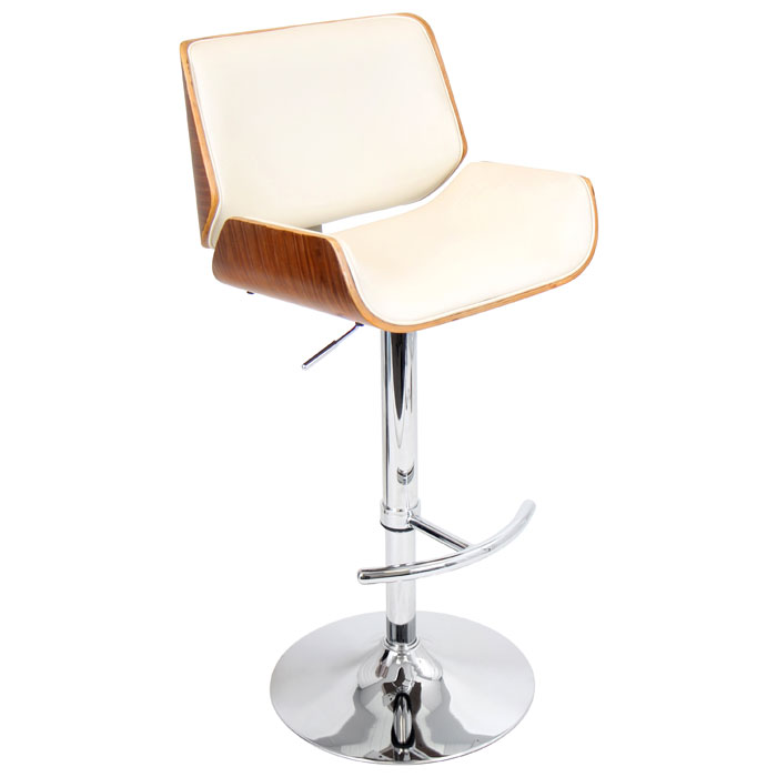 Santi Contemporary Bar Stool Walnut Wood Cream Dcg Stores