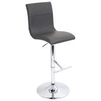 Spago Adjustable Height Bar Stool - Chrome, Gray Upholstery