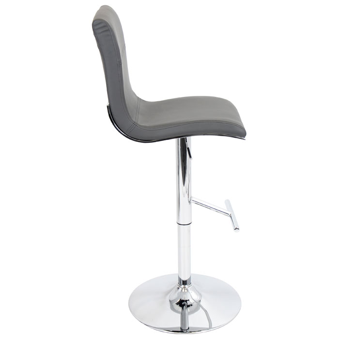 Spago Adjustable Height Bar Stool - Chrome, Gray Upholstery - LMS-BS-JY-SPAGO-GY
