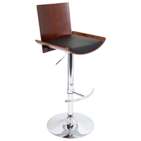 Vittorio Adjustable Height Bar Stool - Cherry Finish, Black Seat