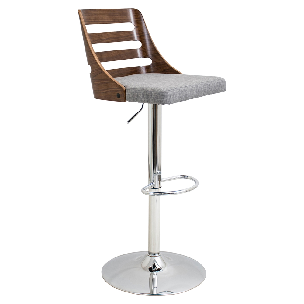 Trevi Height Adjustable Barstool Swivel Walnut Blue Dcg Stores