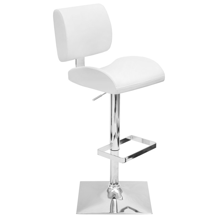 Locust White Adjustable Height Swivel Bar Stool - LMS-BS-TW-LOCUST-W