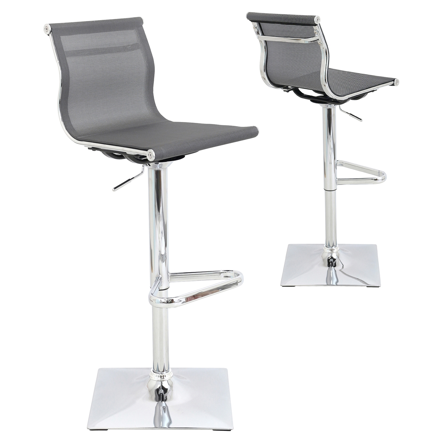 Mirage Height Adjustable Barstool - Swivel, Silver - LMS-BS-TW-MIRAGE-SV