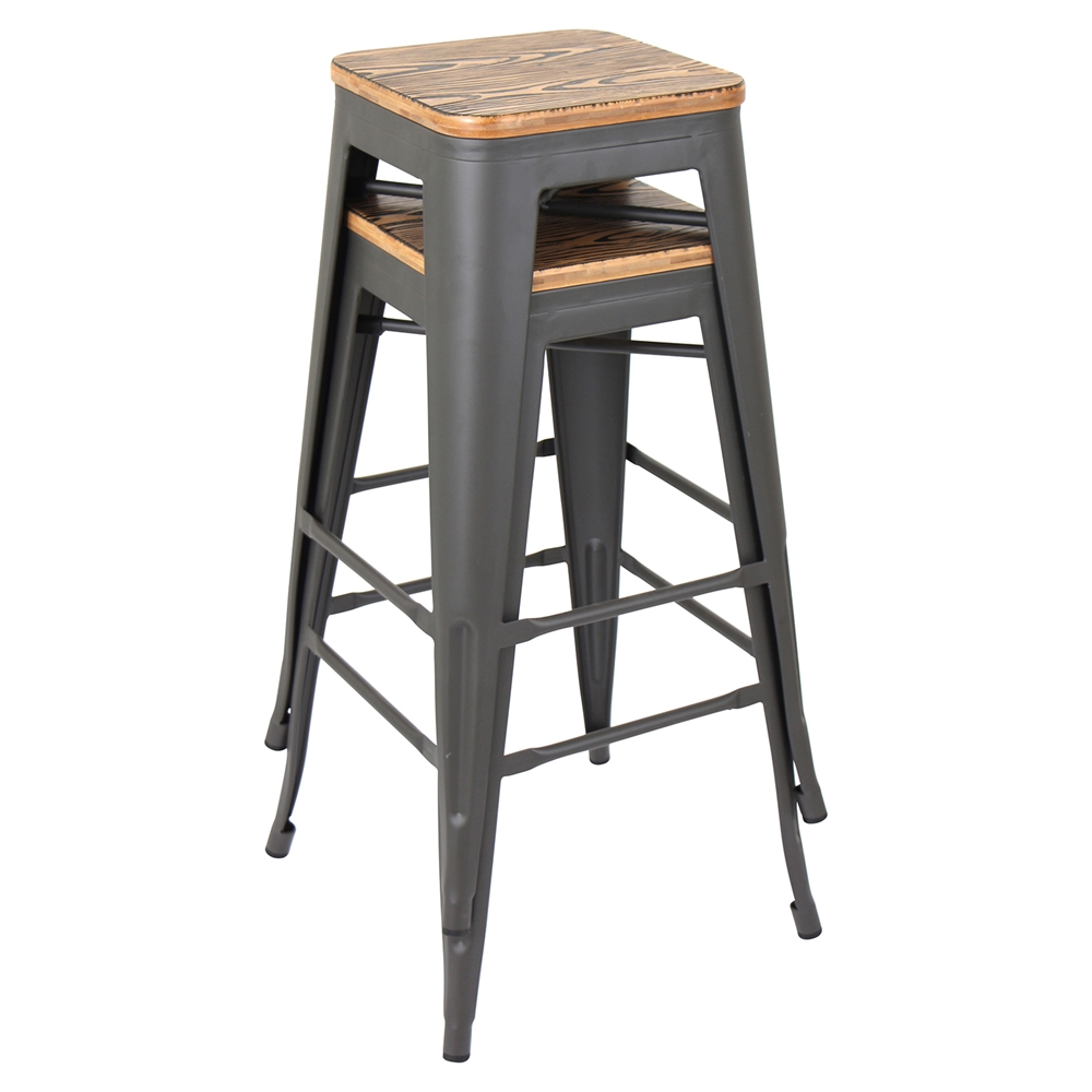 Oregon Stackable Barstool Medium Brown Top Gray Set Of 2 Dcg Stores