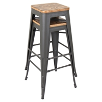Oregon Stackable Barstool - Medium Brown Top, Gray (Set of 2)