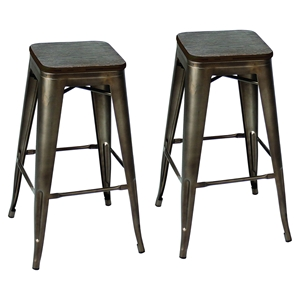 Oregon Stackable Barstool - Dark Espresso Top, Antique (Set of 2)