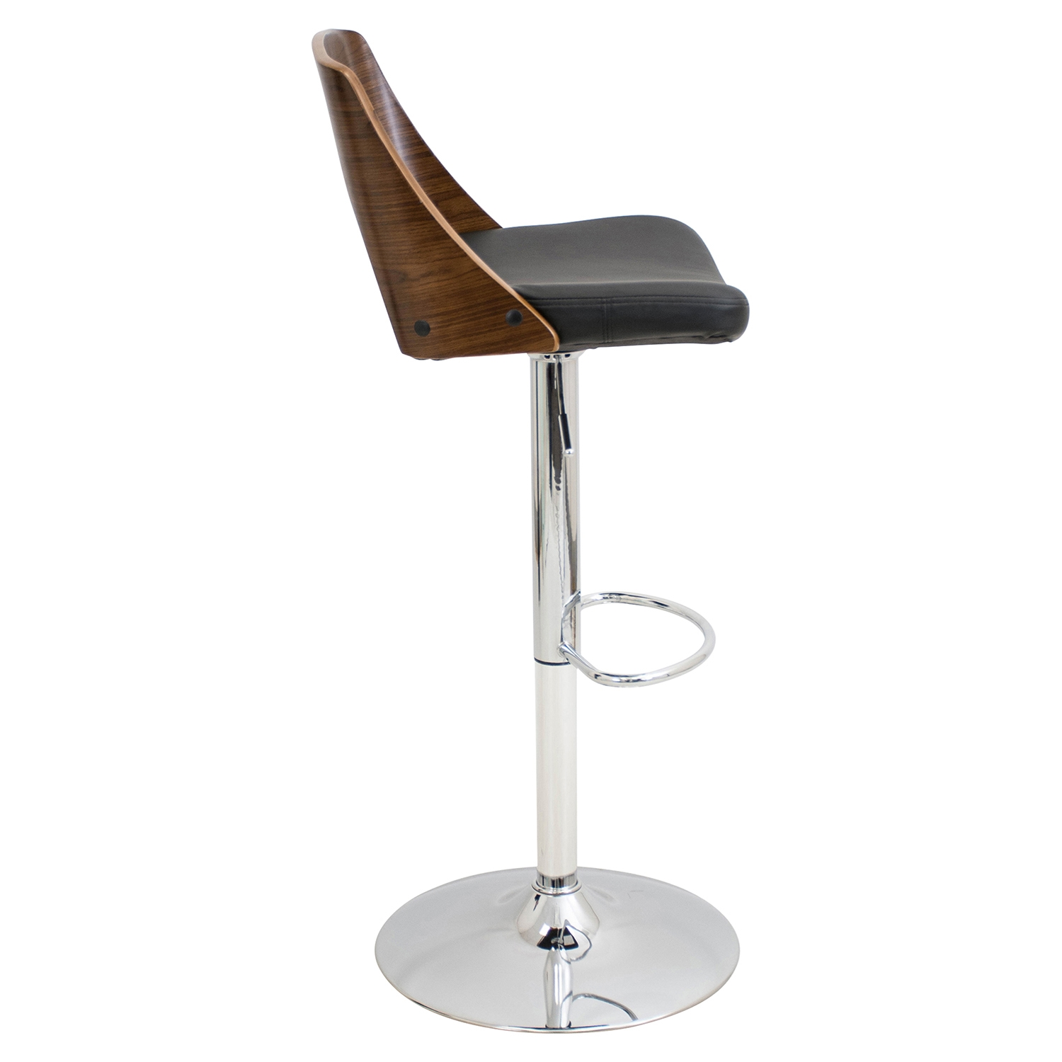 Valencia Height Adjustable Barstool - Swivel, Walnut, Black - LMS-BS-VLNCI-WL-BK