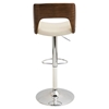 Valencia Height Adjustable Barstool - Swivel, Walnut, Cream - LMS-BS-VLNCI-WL-CR