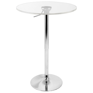 Adjustable Height Bar Table - Clear Acrylic Top