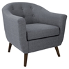 Rockwell Upholstery Armchair - Button Tufted, Gray - LMS-CHR-AH-RKWL-GY