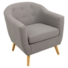 Rockwell Upholstery Armchair - Button Tufted, Light Gray - LMS-CHR-AH-RKWL-LGY