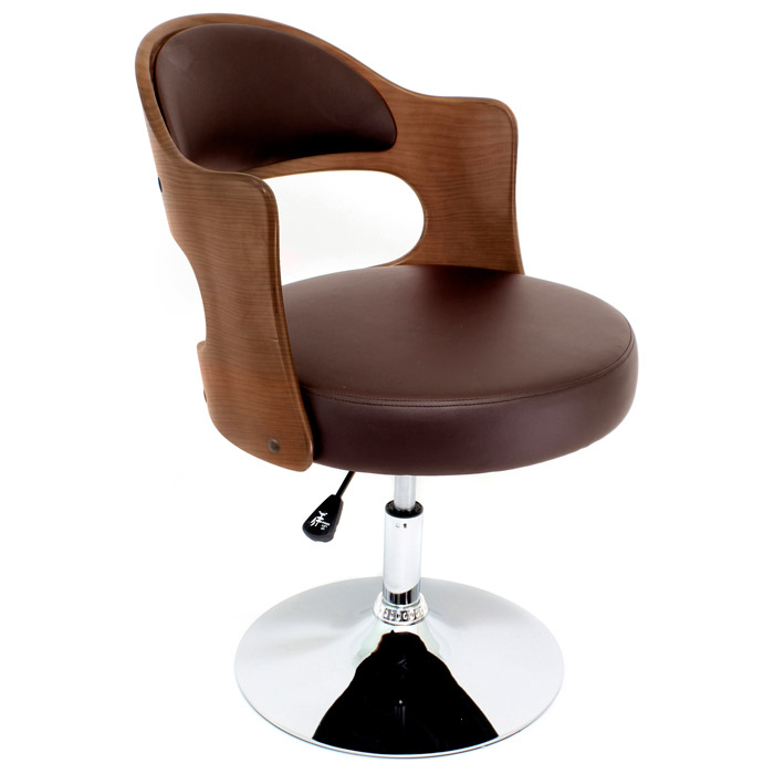 Cello Adjustable Chair In Walnut Wood And Brown Seat Dcg