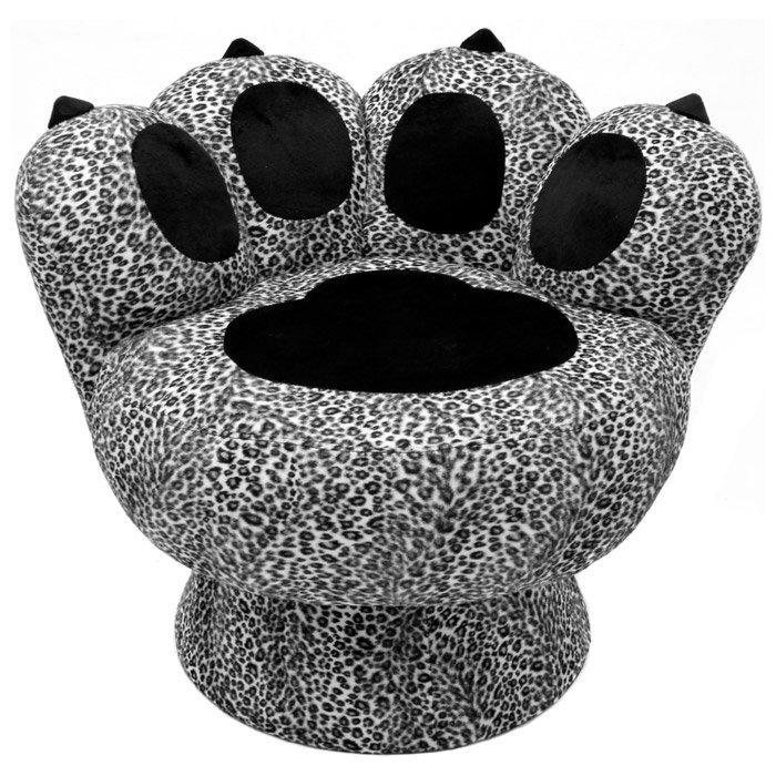 Paw Lounge Chair with Snow Leopard Prints | DCG Stores