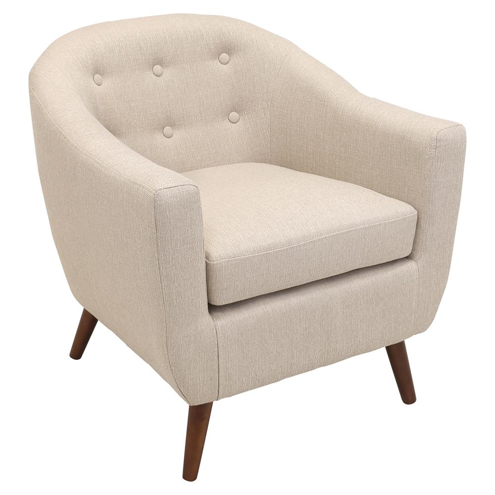 Rockwell upholstery armchair button tufted cream dcg for Cream armchair