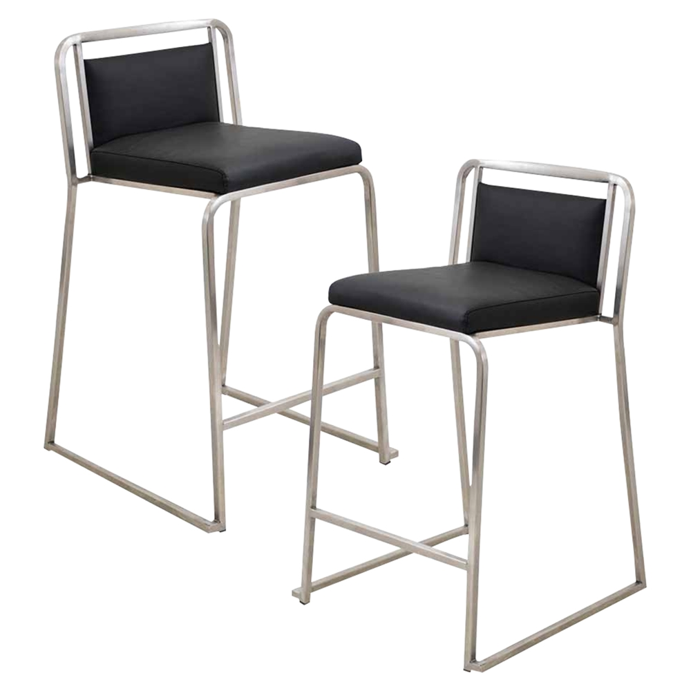 Cascade Stackable Counter Stool Black Set Of 2 Dcg Stores
