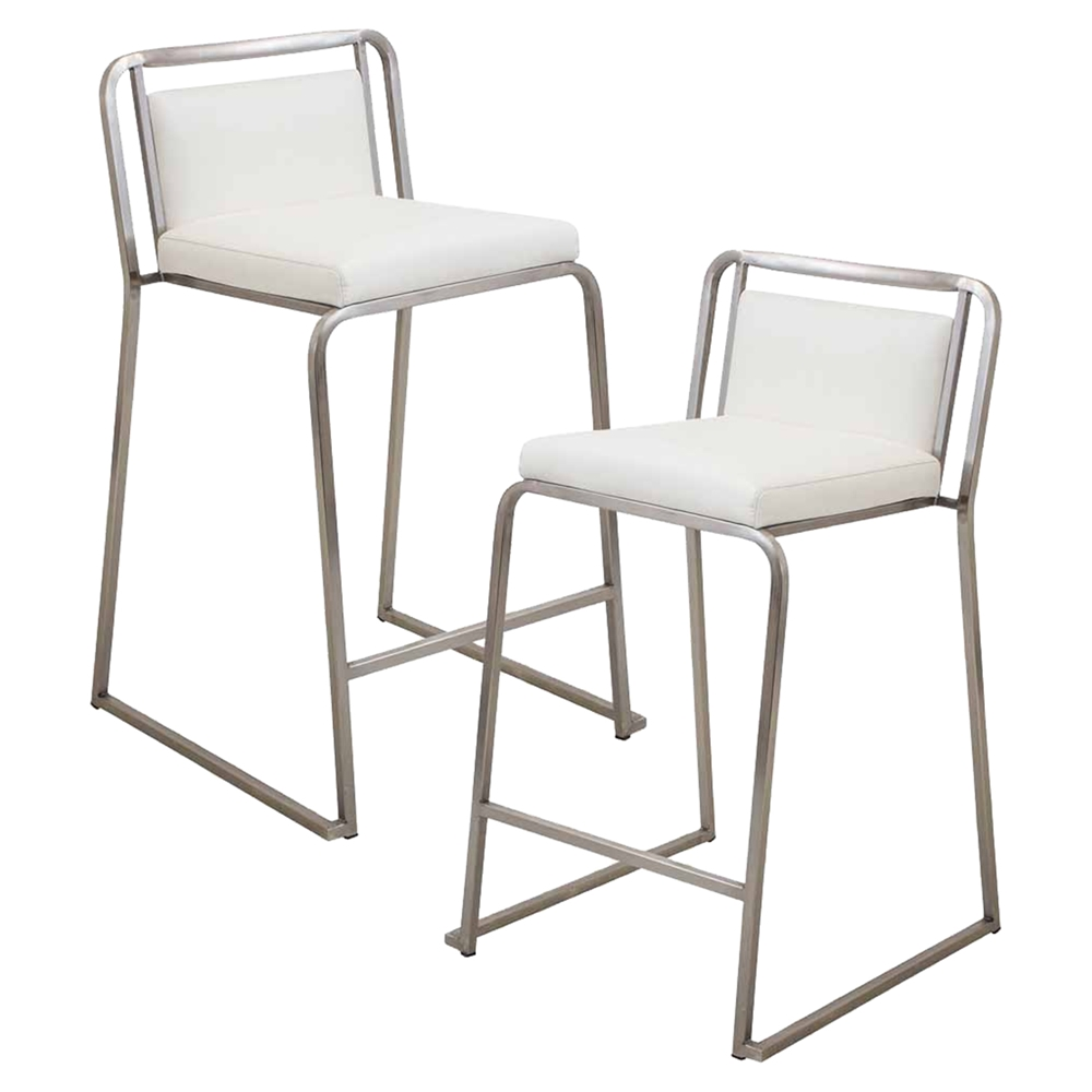 Cascade Stackable Counter Stool White Set Of 2 Dcg Stores