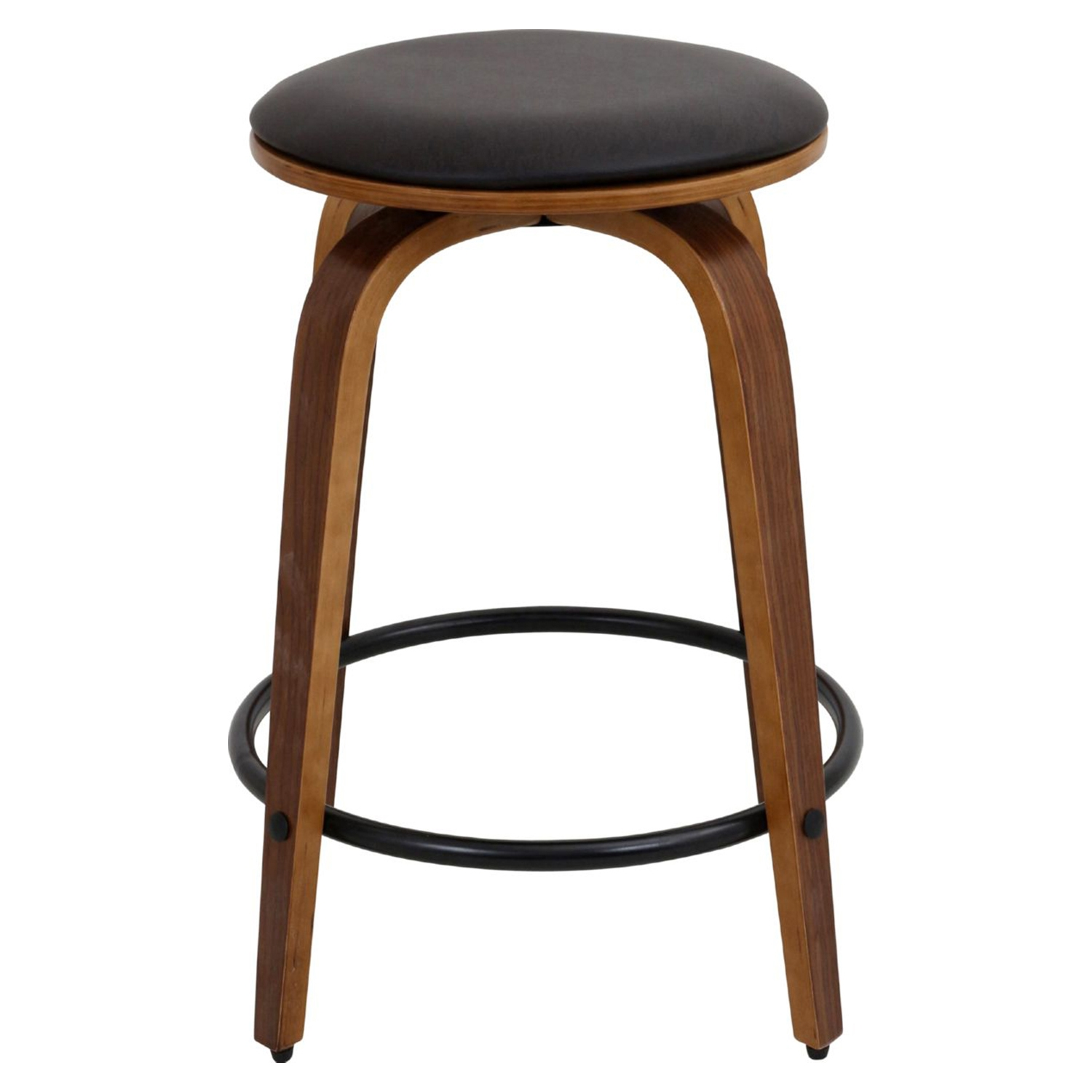 Porto Counter Stool - Swivel, Walnut, Brown (Set of 2) - LMS-CS-PRT-WL-BN2